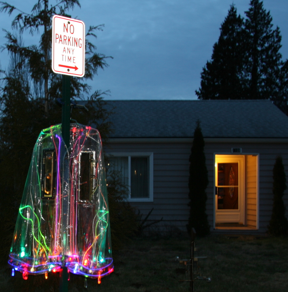 No Parking Sign On E Victor Street In Bellingham Wearing Beautiful Clear Plastic Rain Cape